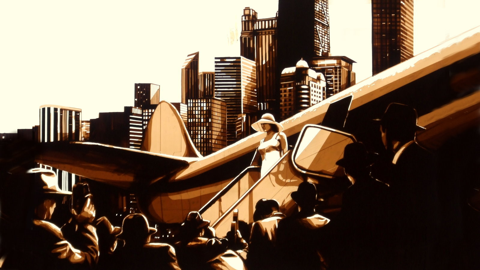 Art made of packing tape by Max Zorn, art du ruban, Kunst mit Klebeband, depicting woman and airplane in front of Chicago skyline