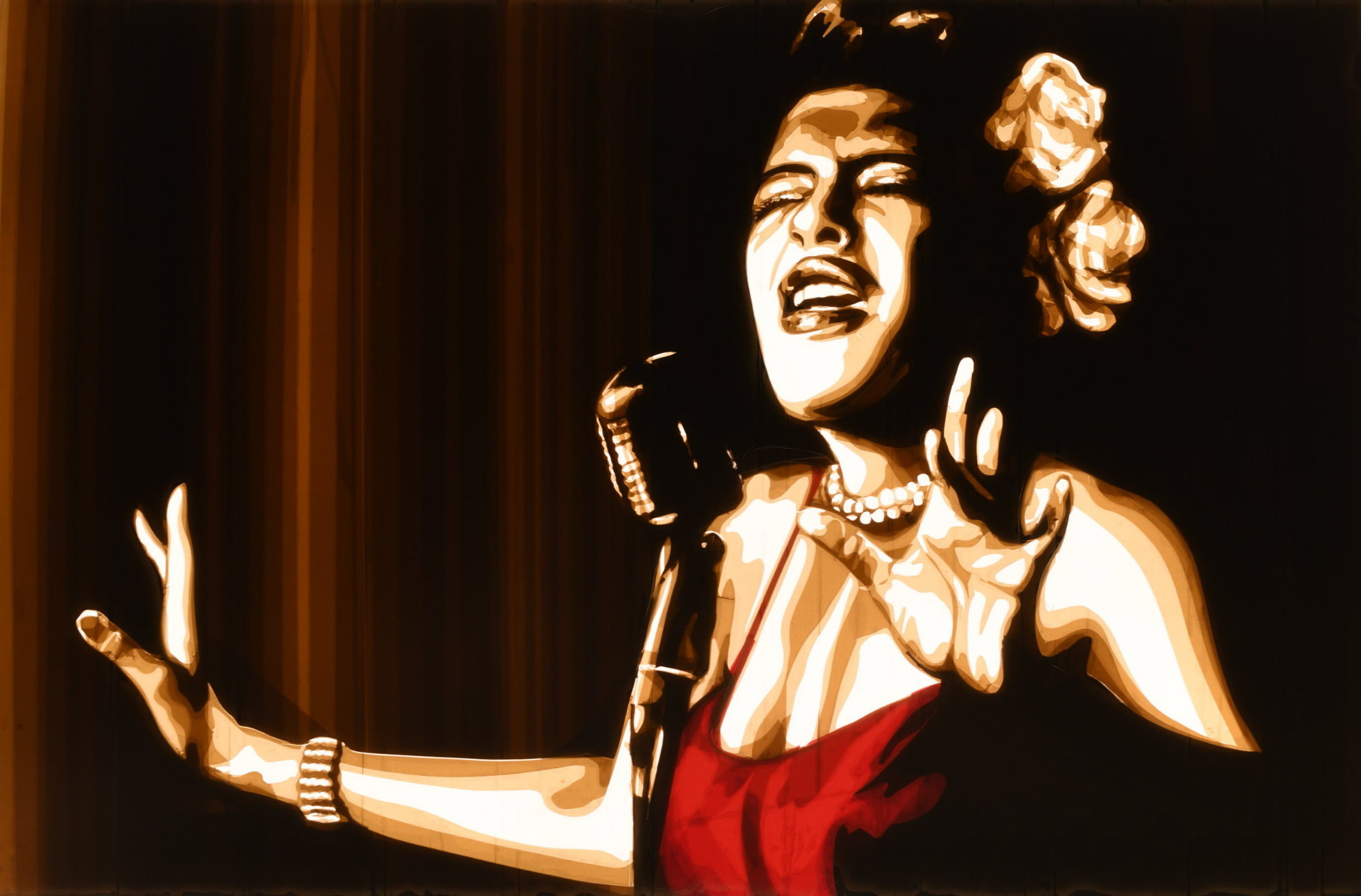 This artwork made of brown packing tape depicts Billie Holiday, the famous jazz and blues singer
