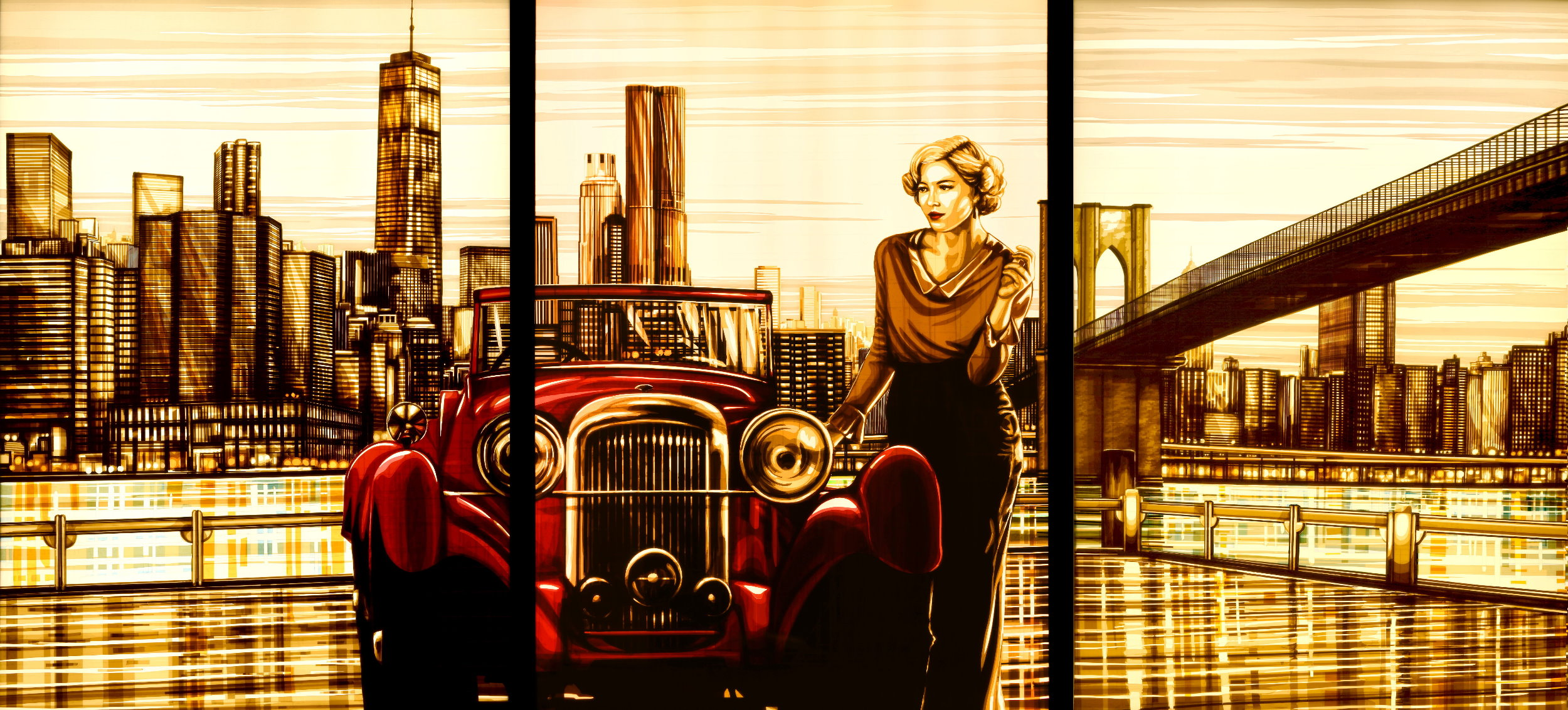 Contemporary artwork made of packing tape. It shows a woman leaning on a red car in front of the skyline of New York, with a bridge and the Hudson river in the background.