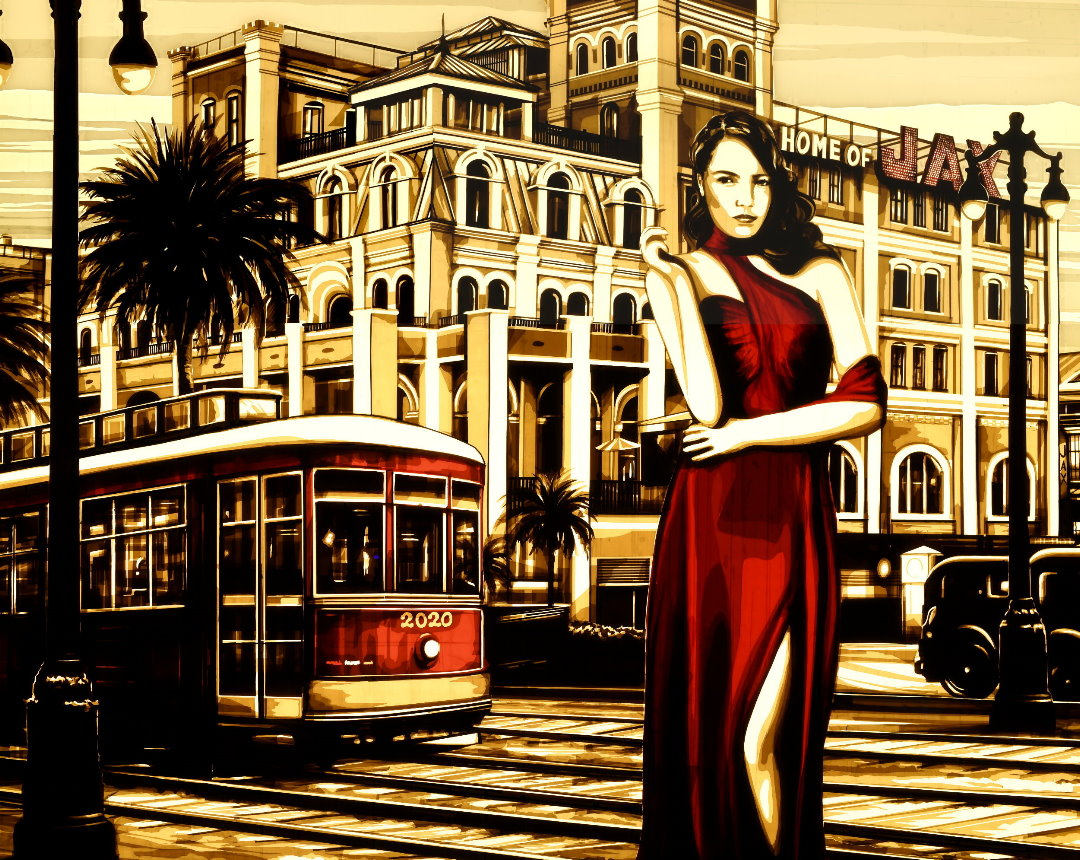 This tape artwork depicts the Jax brewery in New Orleans, also showing a woman in red vintage dress, a trolley or street car and palm trees. It's a collectors pieces for a private art collection