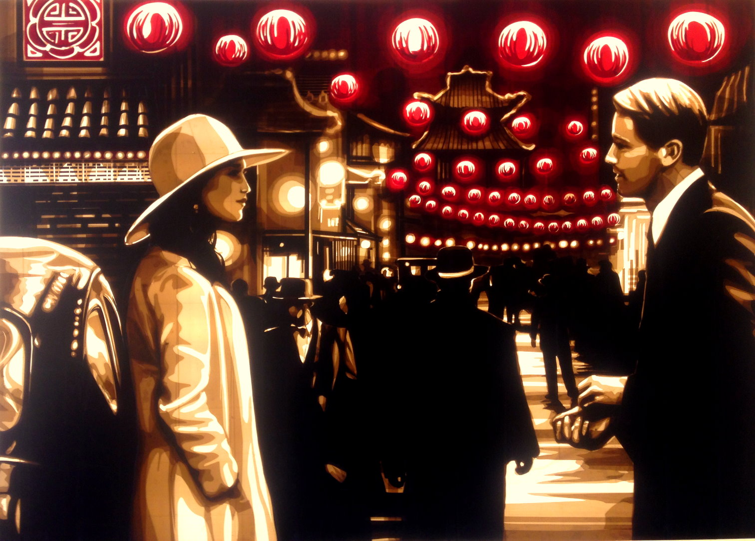 Artwork made with packing tape by Max Zorn, depicting a scene in China Town