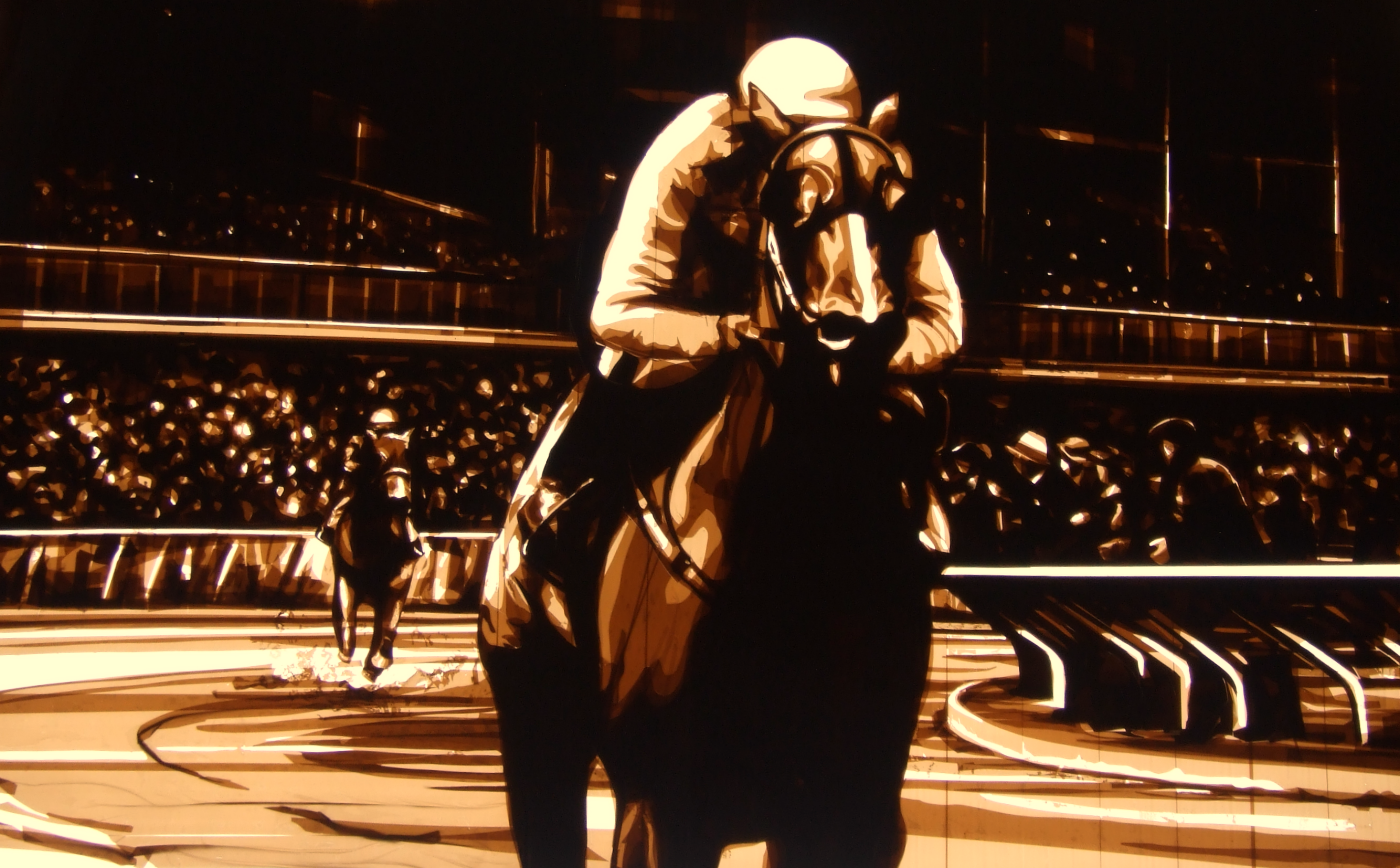 Tape artwork depicting horse race by Max Zorn, Kunst mit Klebeband, art du ruban