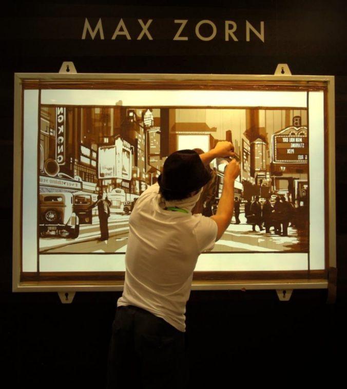 Max Zorn at Art Basel Hong Kong creating a live artwork with packing tape