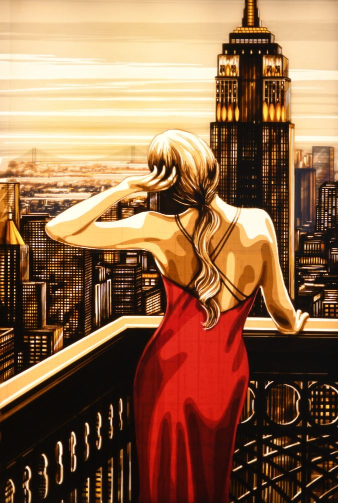 Artwork by Max Zorn, showing a woman looking from a balcony over New York city