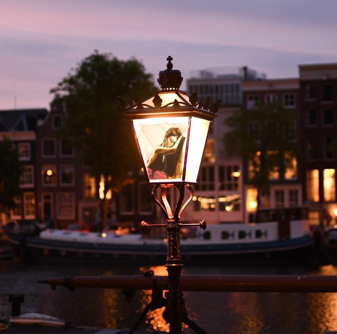 Tape Art Sticker on street lamp in Amsterdam by Max Zorn