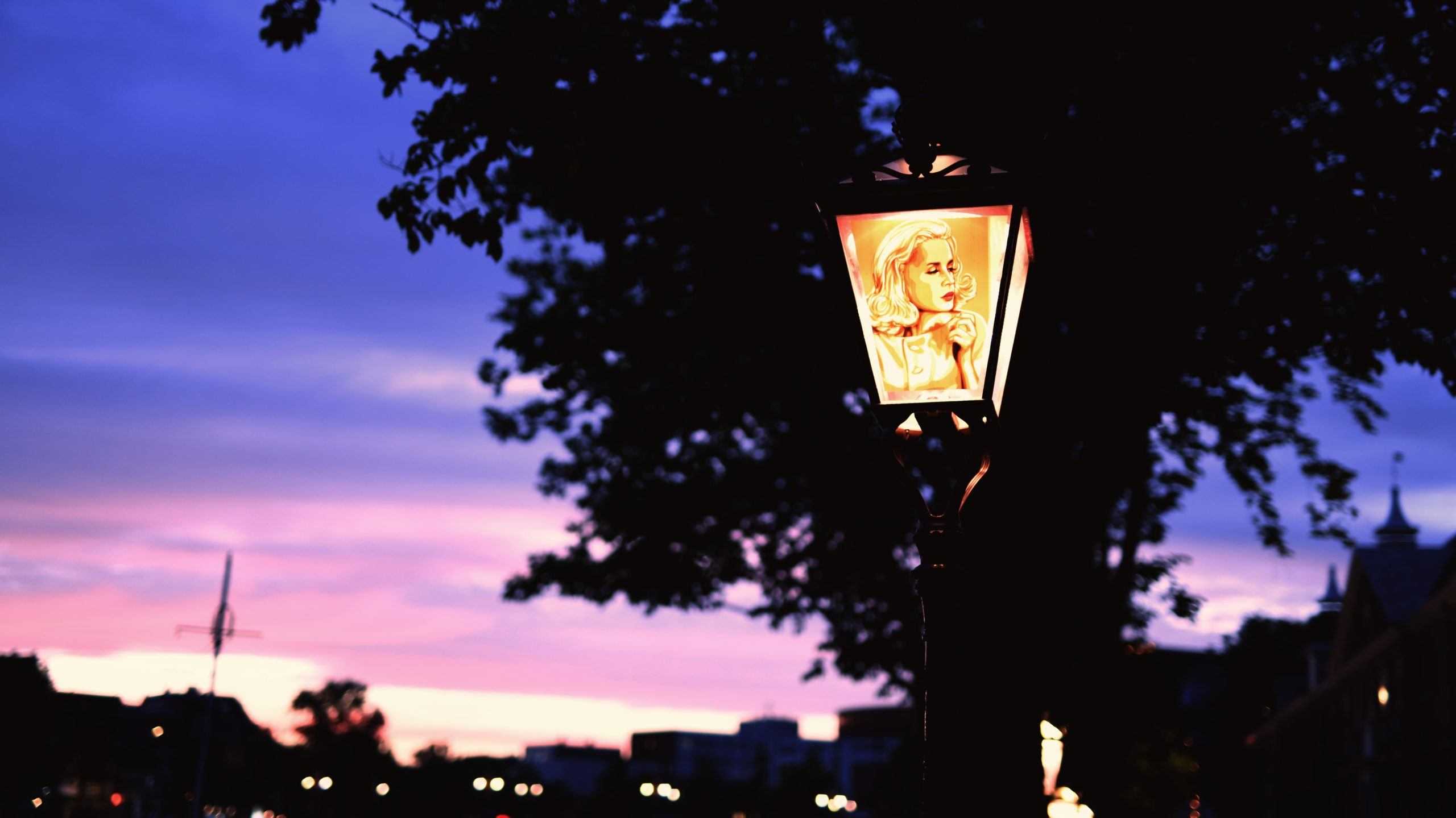 Tape Artwork on street lamp in Amsterdam by Max Zorn