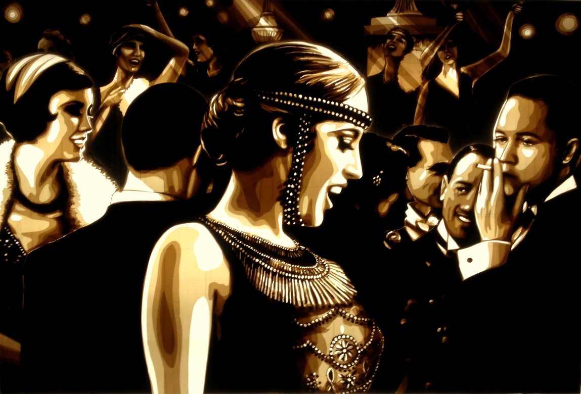 Tape art, Kunst mit Klebeband, ruban adhesif. Artwork created with brown packing tape, depicting a Great Gatsby party scene, film noir style from the 1920s