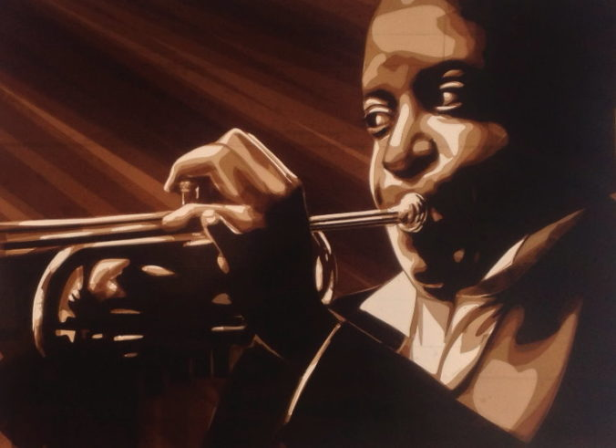 Louis Armstrong portrait. Tape art by Max Zorn