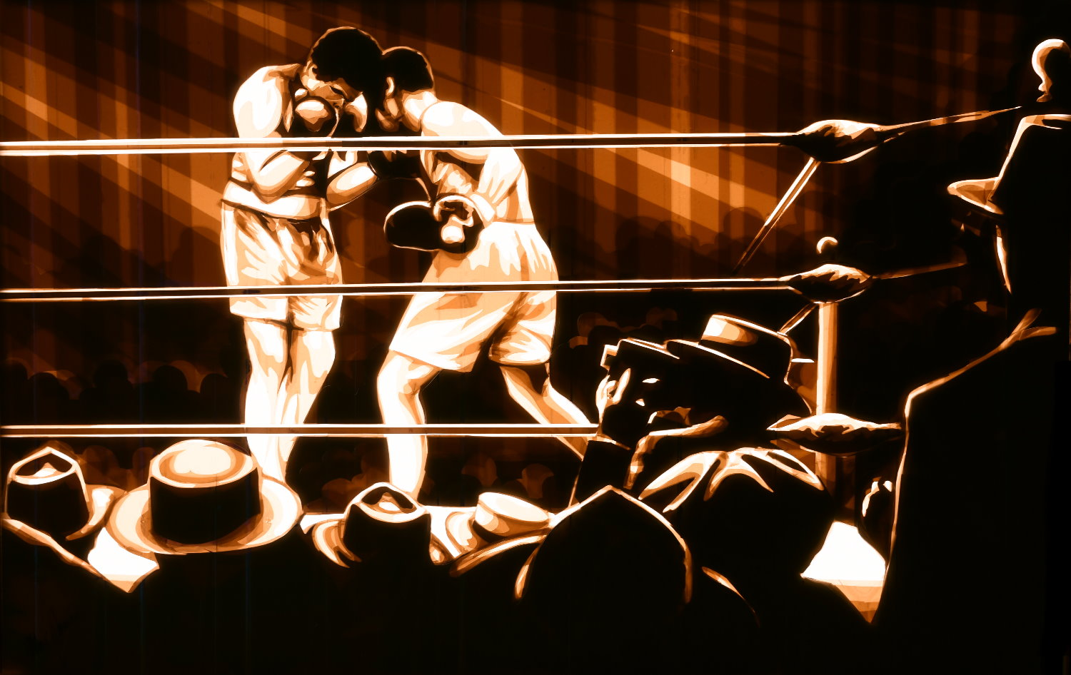 Tape Artist Max Zorn created a boxing scene only with packing tape and a scalpel. One of the best contemporary artist in his medium layers tape until the motif appears