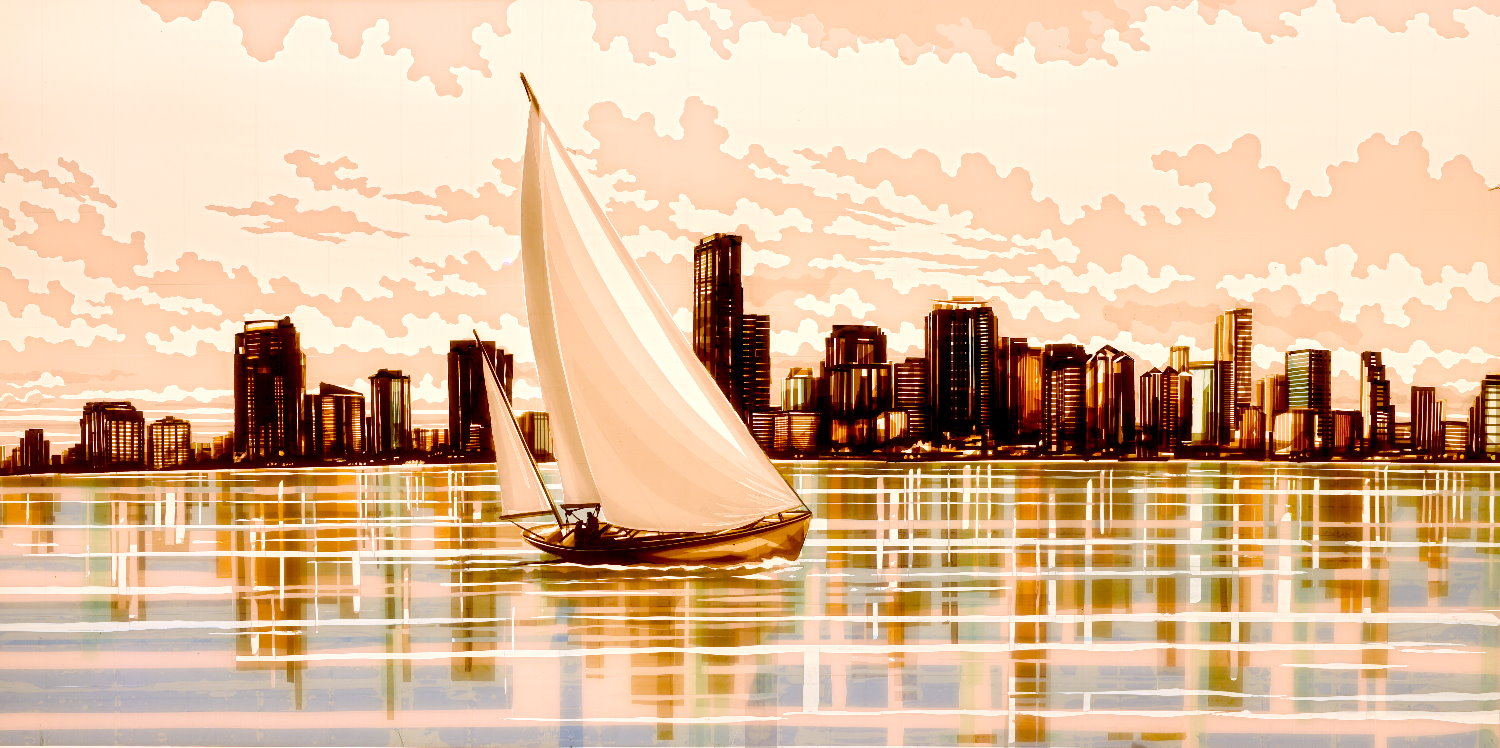 Tape Art by Max Zorn depicting Miami Beach, a sail boat sailing in front of the Miami skyline, light mirroring in the water.