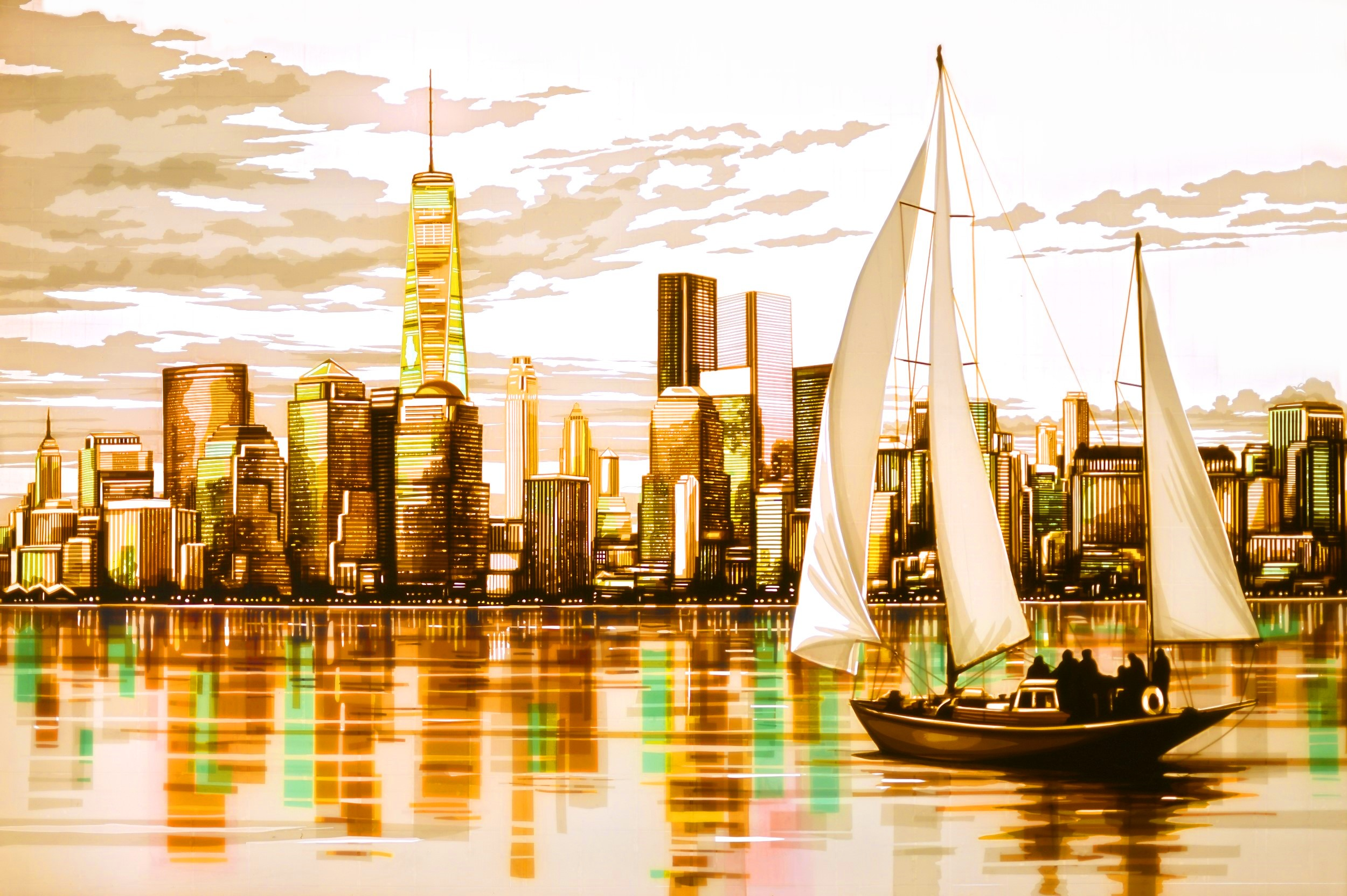 Shimmers, a New York panorama made with packing tape by aist Max Zorn