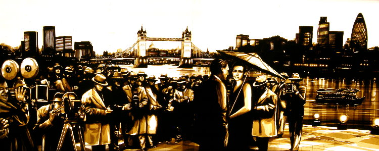 artworks made of packing tape by Max Zorn depicting a secenery in London with a couple surrounded by photographers. The london bridge and London's skyline in the background.