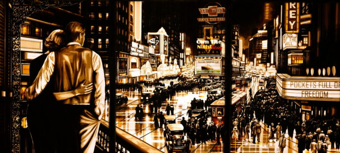 A large artwork by Max Zorn, made with only packing tape. It shows a film noir scene of the 1920s with a couple on a balcony looking over Time Square in New York city. There are vintage cars, a tram and people going out on the plaza amidst the city lights.