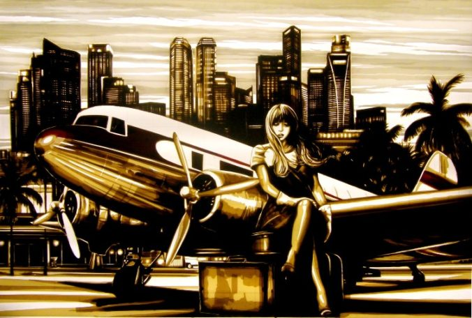 Artwork made with packing tape depicting woman sitting in front of a vintage airplane. In the background, the skyline of Singapore. Film noir scene, Kunst aus Klebeband, ruban adhesif