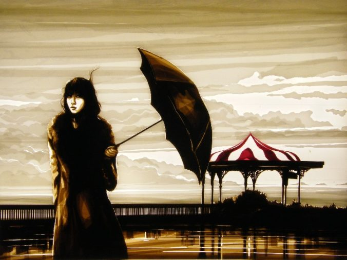 Award winning artwork made of packing tape by Max Zorn. The artwork shows a woman holding an umbrella, with a stormy background. This artwork was featured at the Wall Street Journal, Art Basel Miami, Spectrum art fair. Materials use to create it were only brown, white and red packing tape.