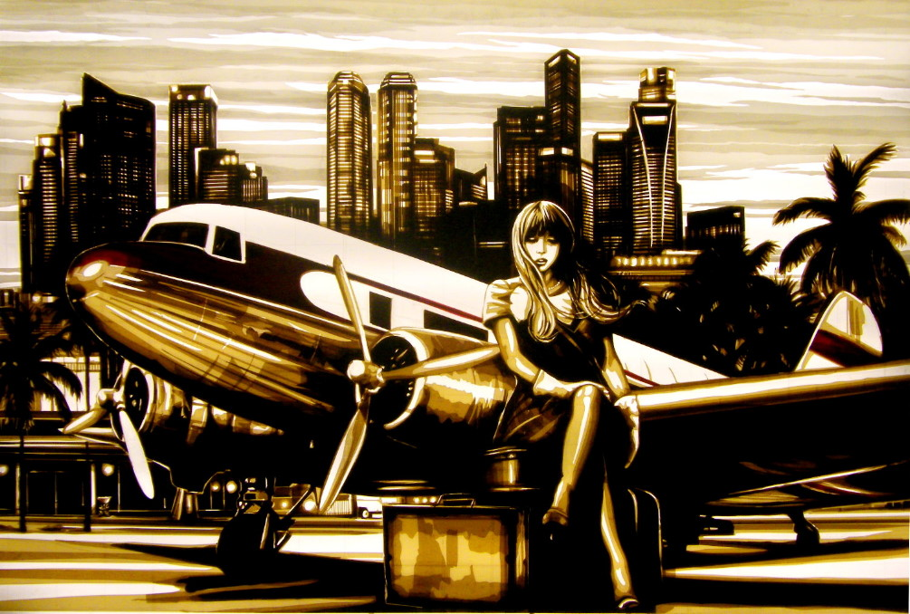 Tape art by Max Zorn - Singapore Sling. Fine art, made with packing tape, depicting a beautiful woman waiting next to an vintage airplane in front of the skyline of Singapore