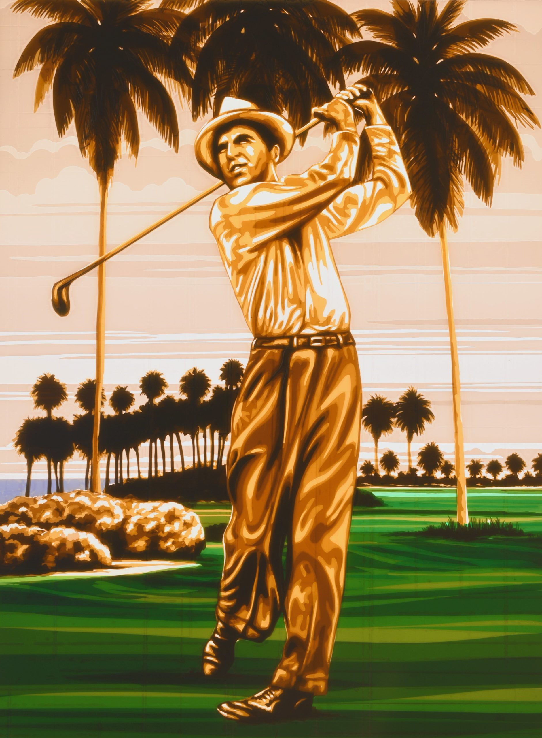 Tape Art by street artist Max Zorn, showing a golfer and palm trees